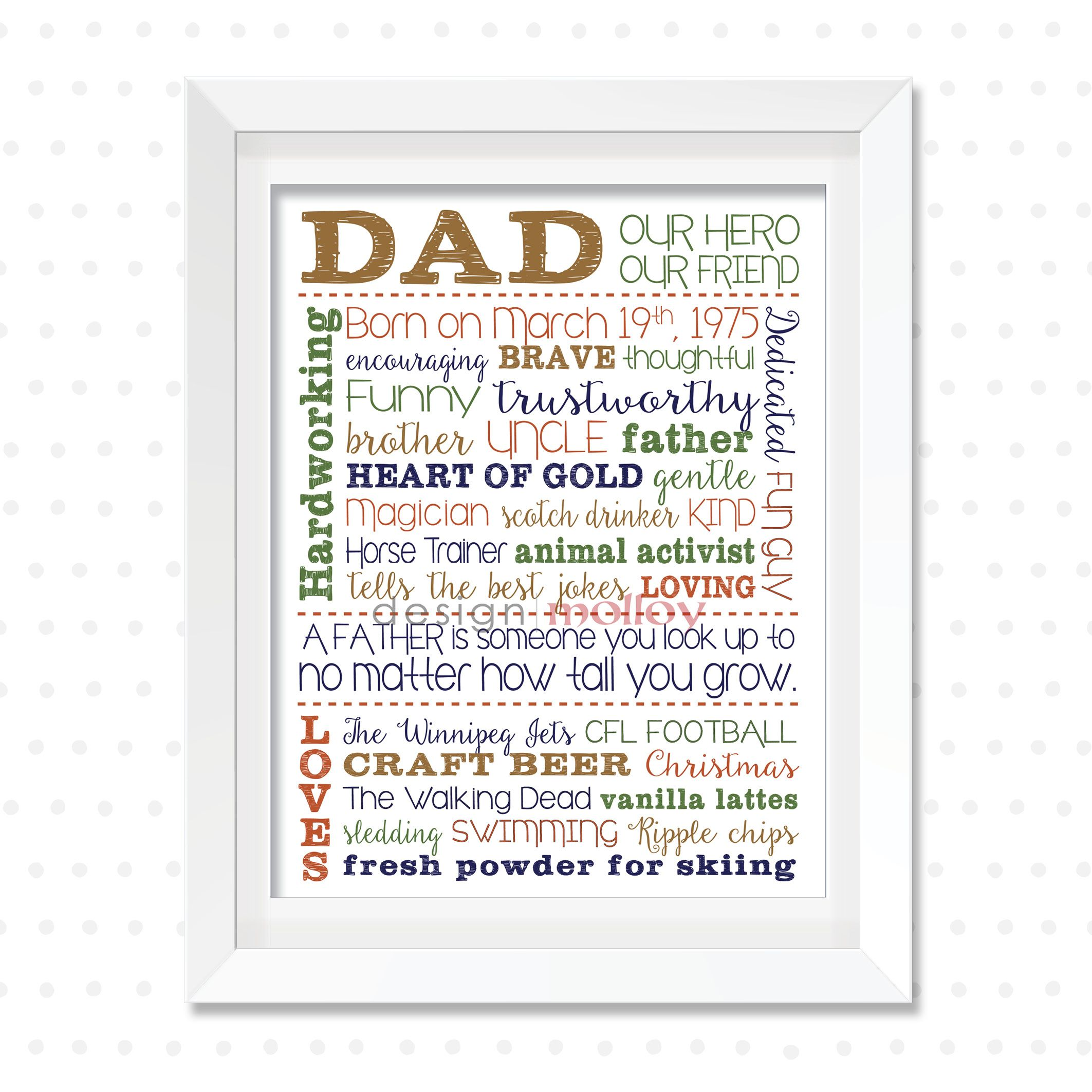 custom dad art custom dad print word collage for him personalized word collage print for fathers day gift custom word art for father