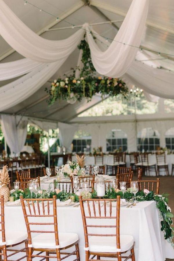 elegante Zelthochzeitsempfangideen mit dem Grün und dem weißen Drapieren   – Wedding Inspiration
