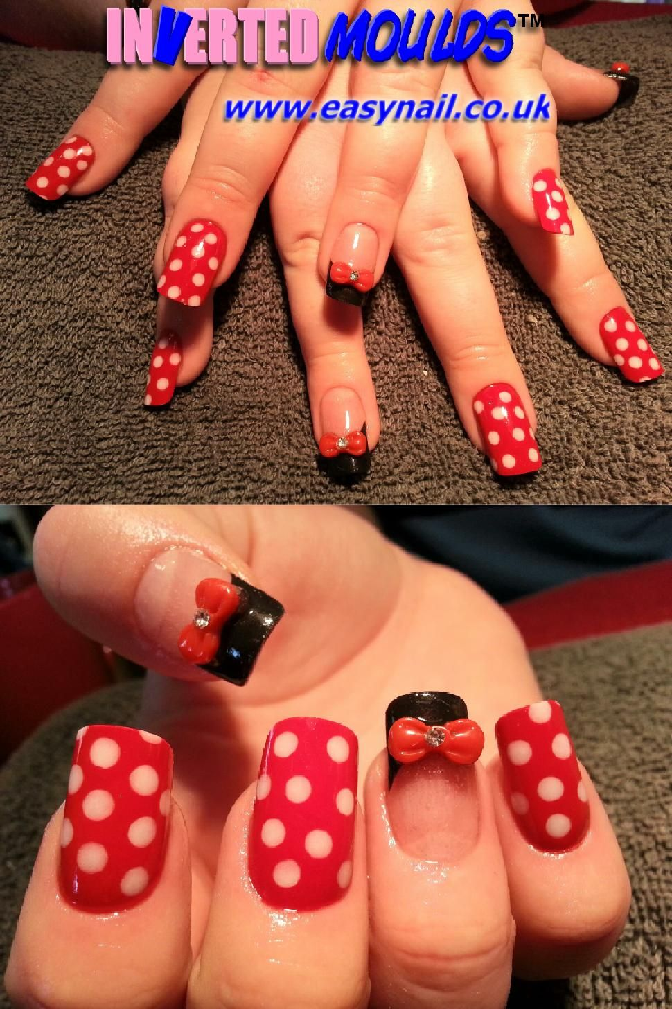 Minnie Mouse nails with 3d bows! <3