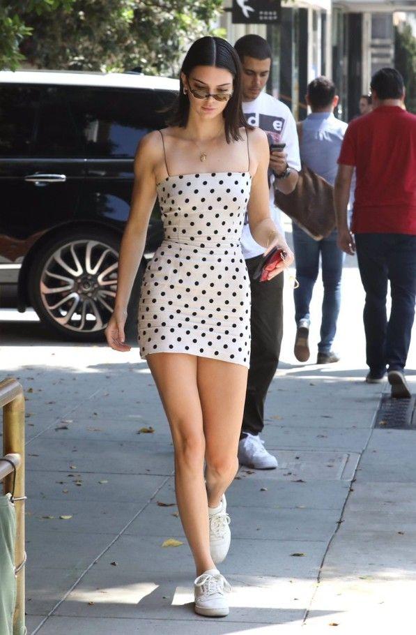Kendall Jenner mini dress sneakers