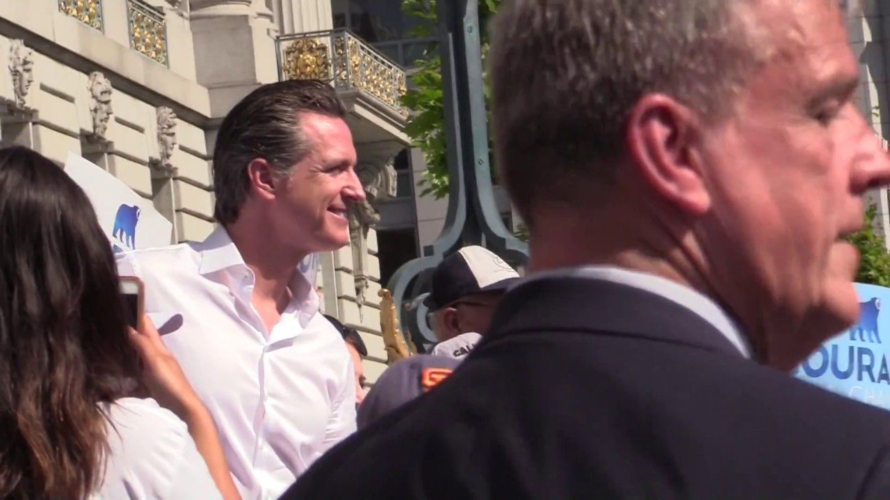 Gavin Newsom And Family At City Hall Running For Governor Of Ca 5