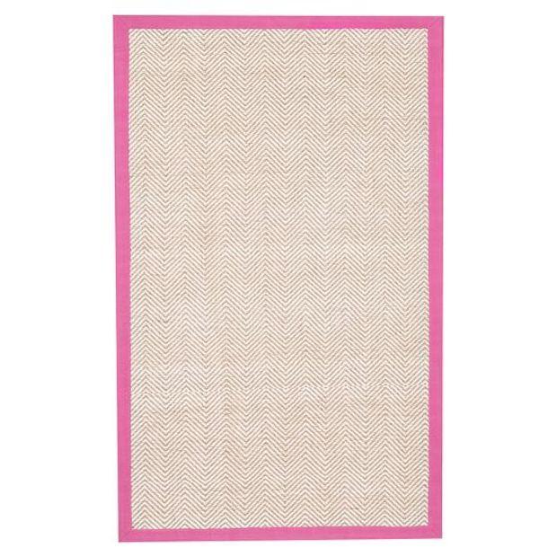 Shoreline Jute Chenille Border Rug, Bright Pink