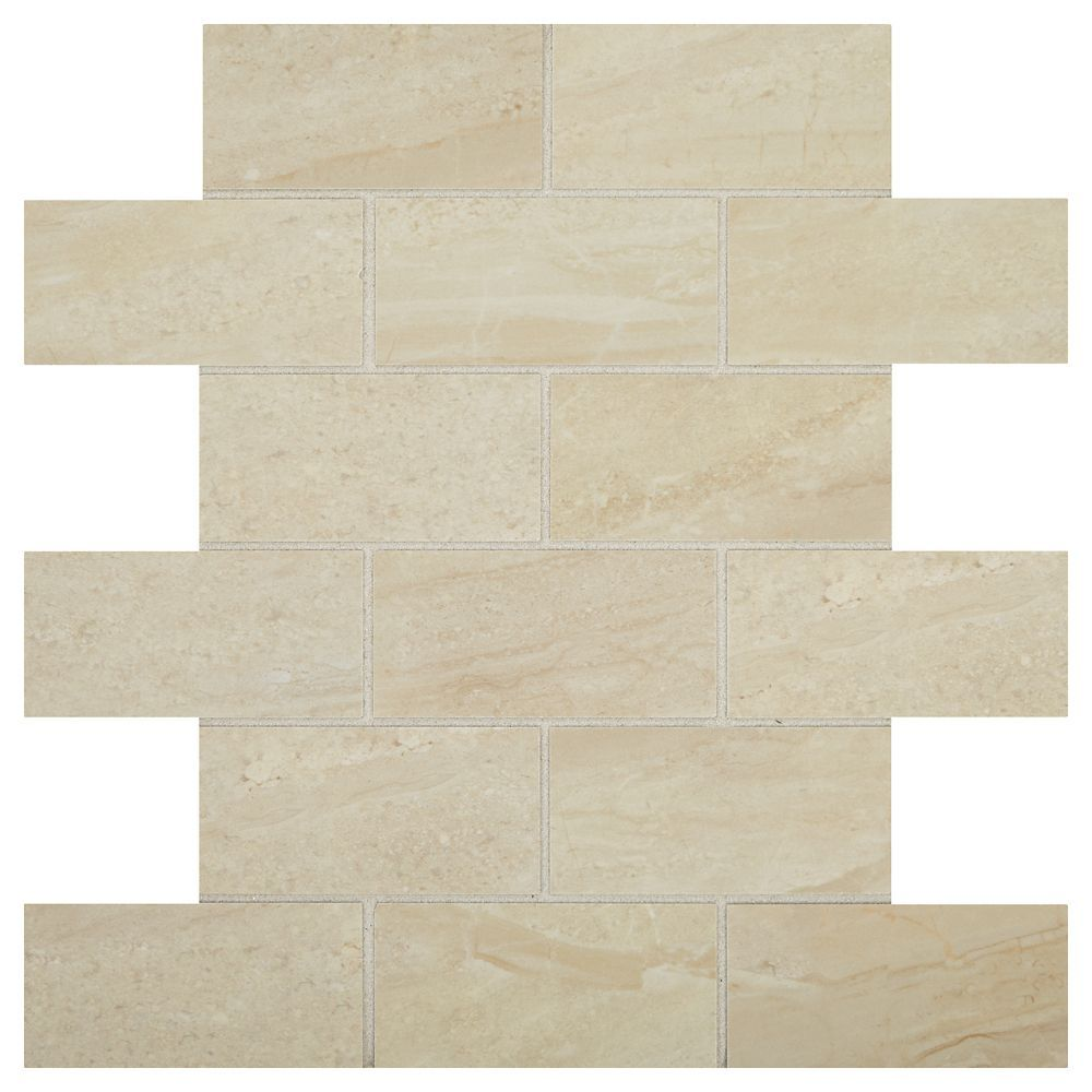 Bellview 12 Inch X 24 Inch X 8 Mm Ceramic Mosaic Tile In Sea Cliff