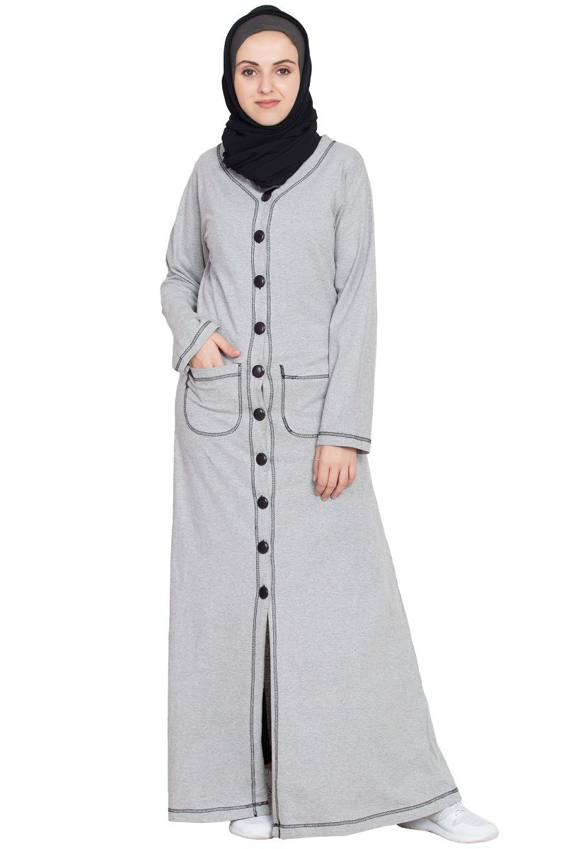 0ef6e4a8d3 Description: Front Open Contrast Stitching Travel Cardigan Abaya, Silver  Grey, Travel/Sports