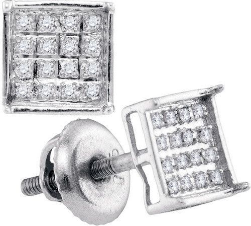 0.10Ct Diamond Micro-Pave Gold Plated Sterling Silver Square Stud Earrings