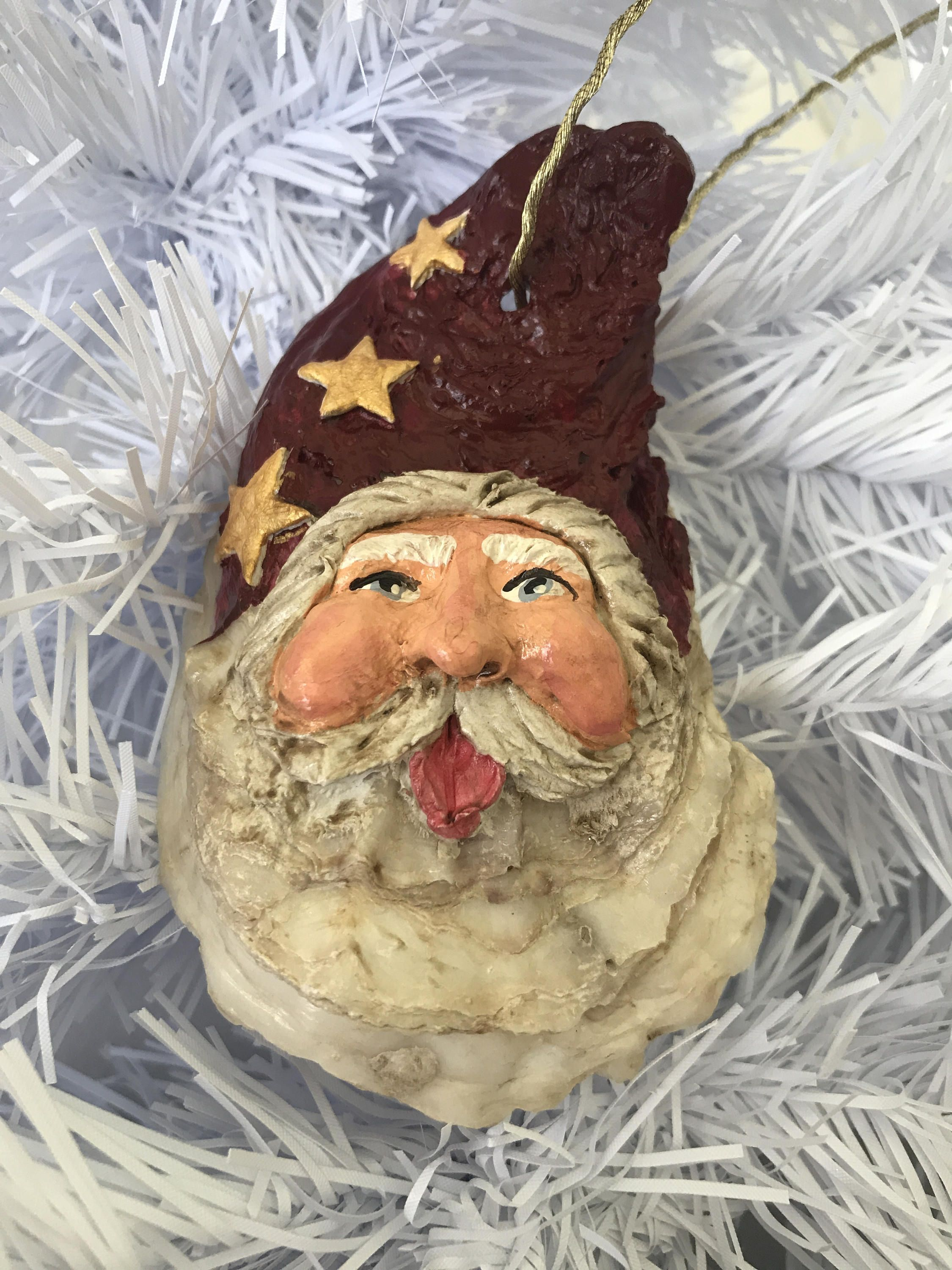This Unique Ornament Is Individually Sculpted And Hand Painted On An Oyster Shell Sant Christmas Ornaments Christmas Candy Crafts Handmade Christmas Ornaments