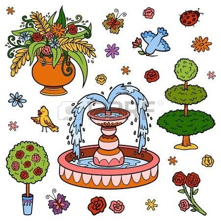 flores caricatura El conjunto de colores de los objetos desde el
