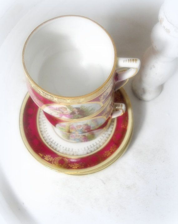romantic porcelain cups mid century interior by Sweetlakevintage, $59.00