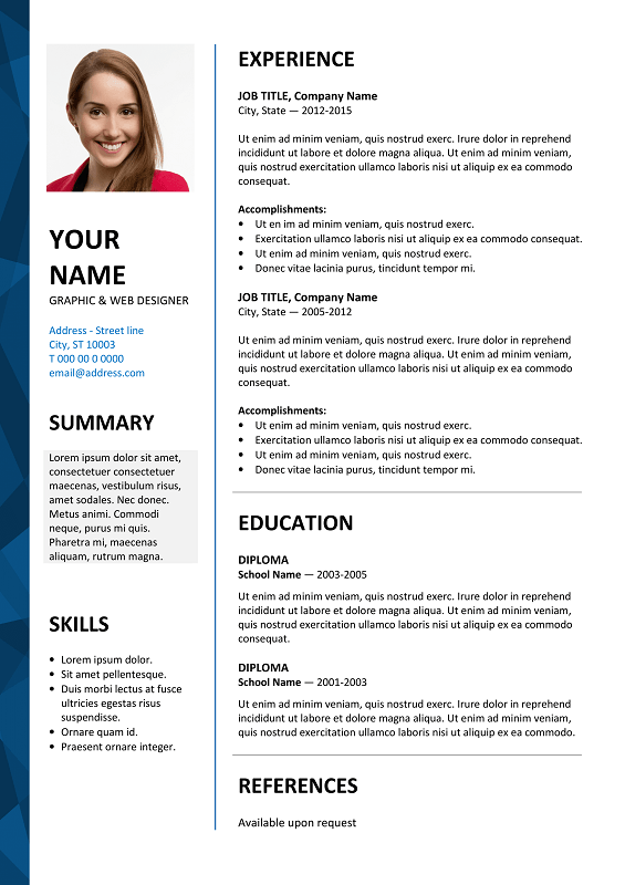 Sample Resume With Picture Template Dalston Free Resume Template Microsoft Word - Blue Layout