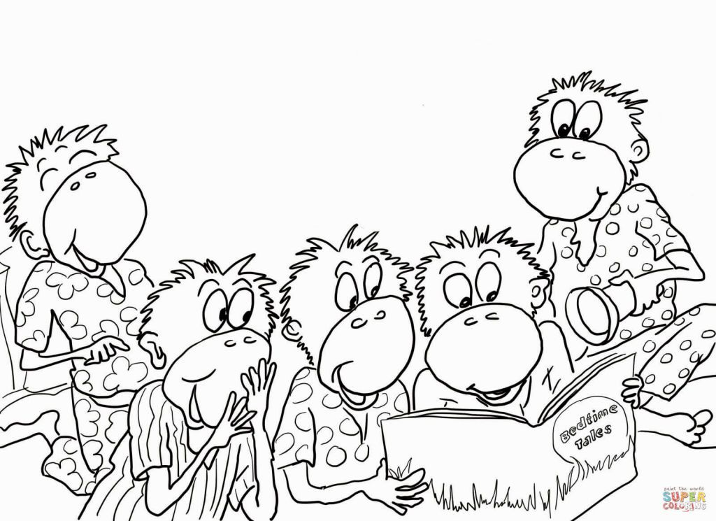 Five Little Monkeys Coloring Page