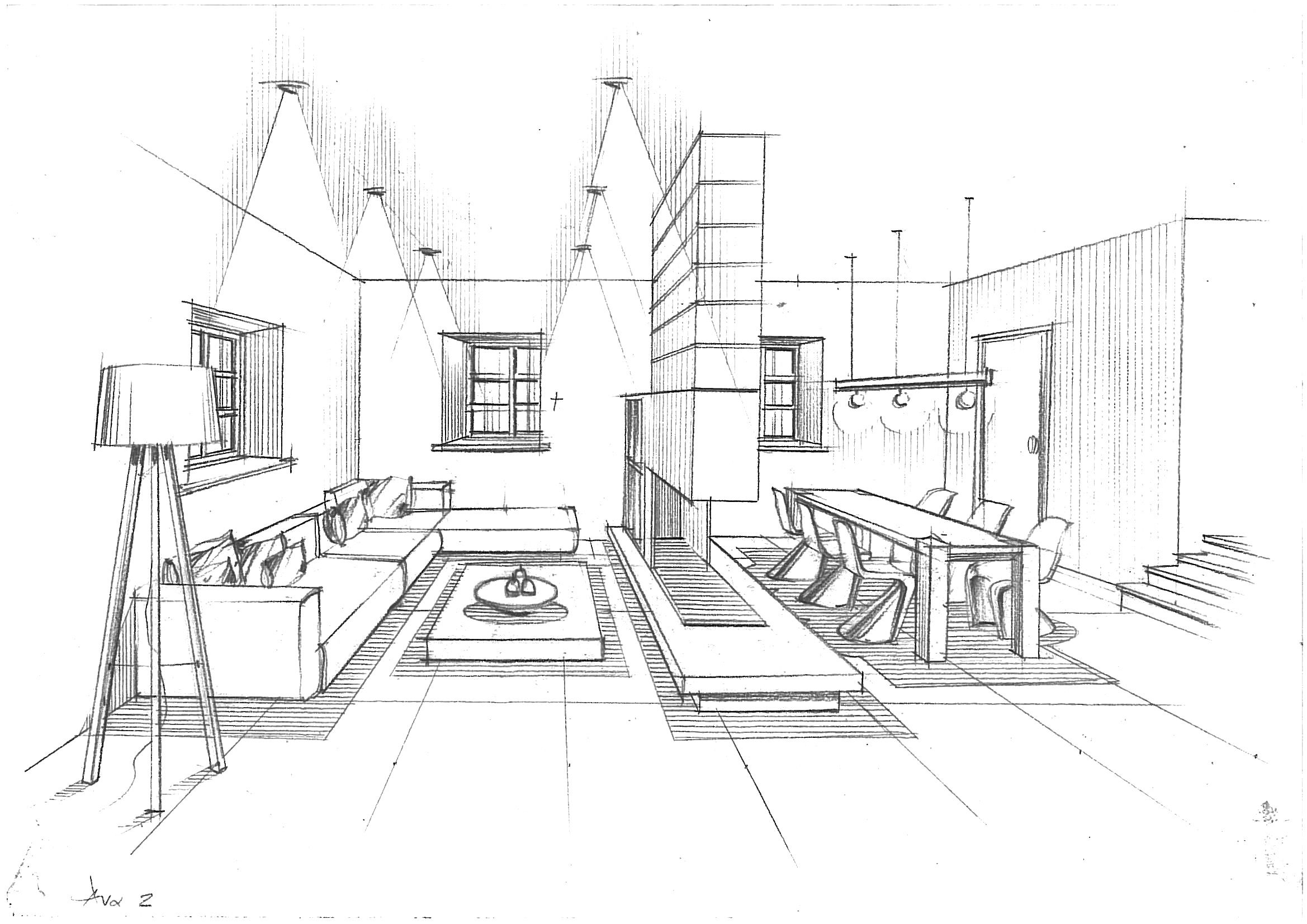 Modern Living Room College Project Urban Design Industrial Home D Architecture Design Sketch Perspective Drawing Architecture Architecture Concept Drawings