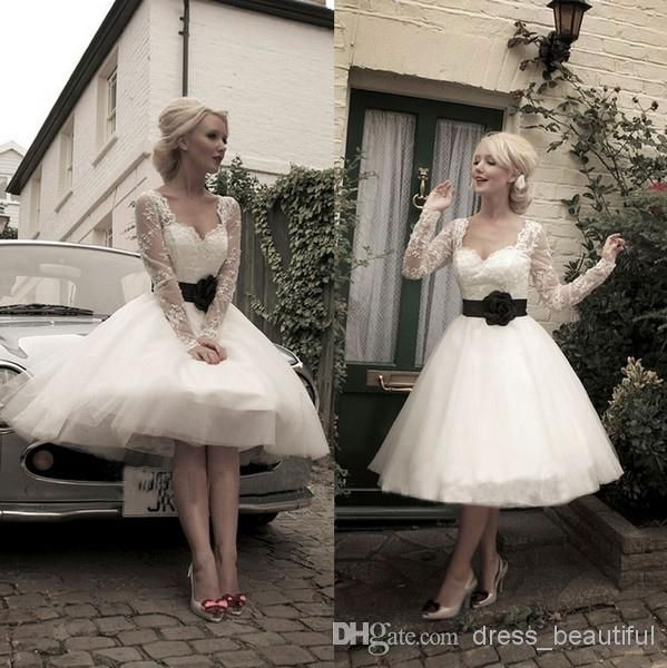 knee length sweetheart vintage wedding dresses