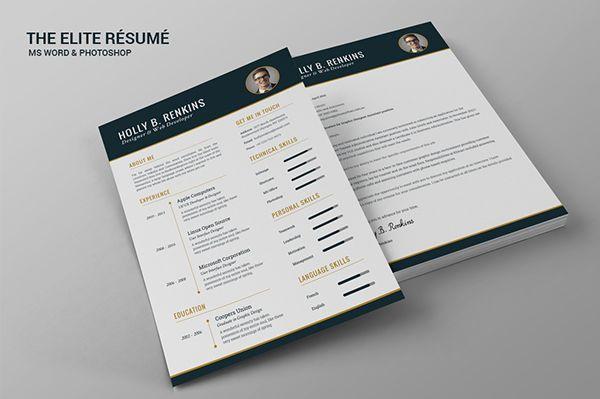 The Elite R 233 Sum 233 On Behance Curriculum Resum 233 Cv Moderne