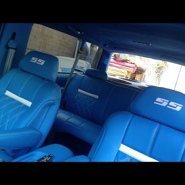 Tahoe 2 Door Lowrider Lowrod Leather Seats Interior Custom Gmc Double Diamond Stitch Embroirdery Handst Chevy Tahoe Interior Car Seat Cover Sets Car Upholstery