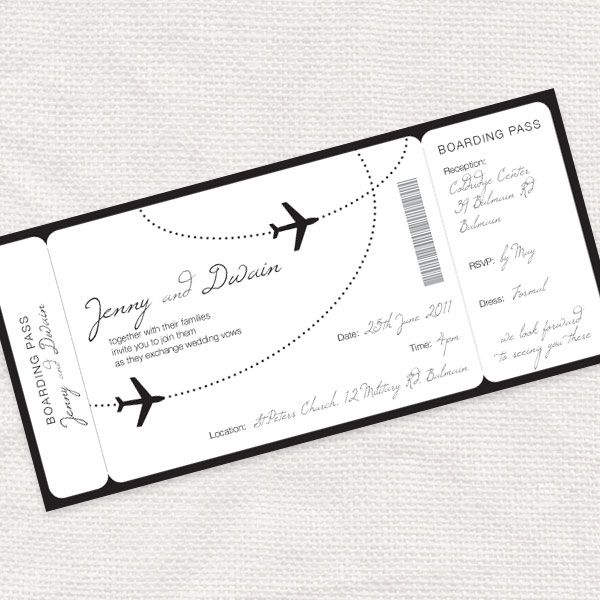 Come Fly With Me Boarding Pass Wedding Invitation Printable File