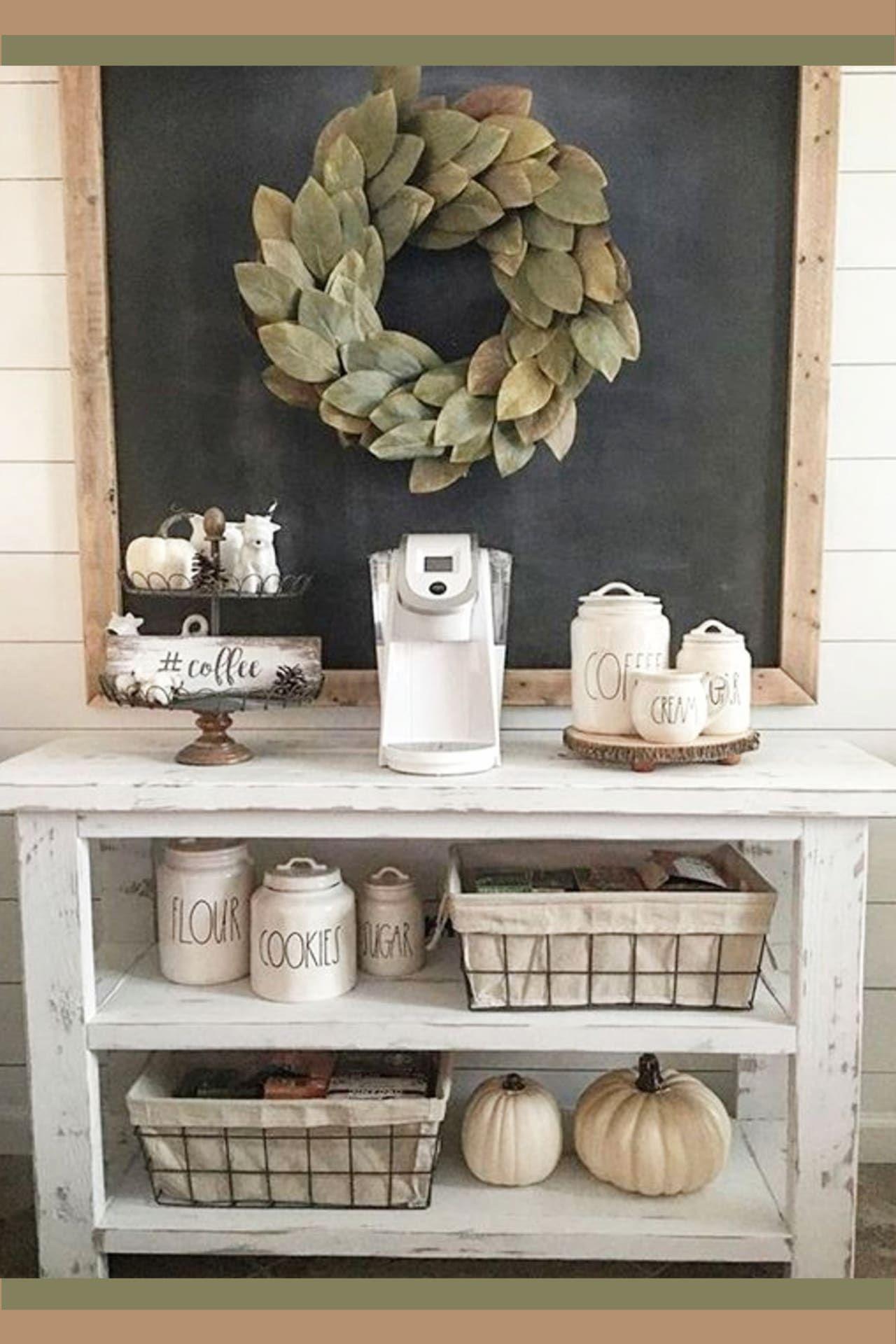 Farmhouse Kitchen Canister Sets and Farmhouse Kitchen Decor Ideas - Coffee Bar Ideas Too #coffeebarideas
