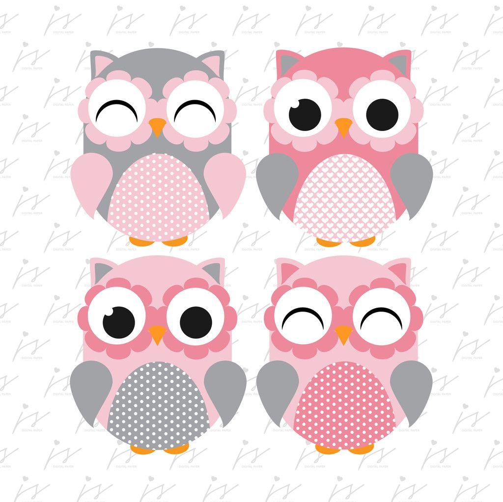 Baby Pink Grey Owl Clipart Graphics Digital Scrapbooking ...