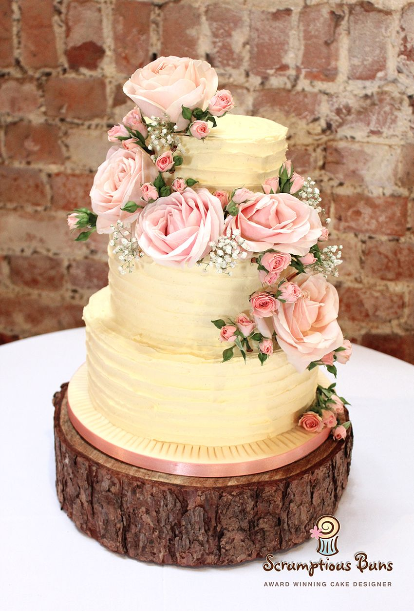 Rustic Buttercream Wedding Cake with Pale Pink Roses | Cake heaven ...