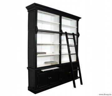 Hedendaags PR Interiors Landelijke Rennes zwarte Bibliotheekkast bibliotheek SX-23