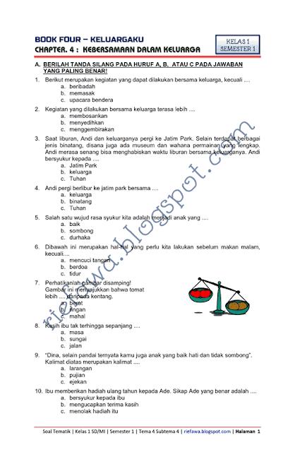 Soal Tematik Kelas 1 Tema 4 Subtema 4 Keluargaku Kebersamaan Dalam Keluarga Kurikulum 2013 Tahun 2018 Rief Awa Blog Matematika Kelas 5 Belajar Keluarga