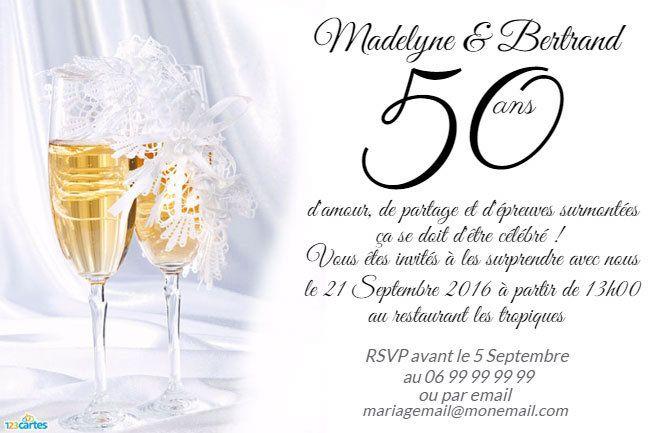 Invitation anniversaire Mariage Flûtes de champagne | Anniversaire de mariage 50 ans ...