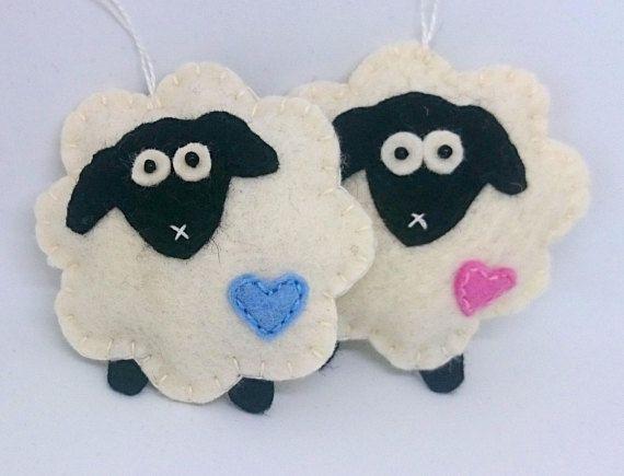 Sheep ornaments set of 2 blue and pink heart decor lamb - Sheep Ornaments Set Of 2 Blue And Pink Heart Decor Lamb Crafts