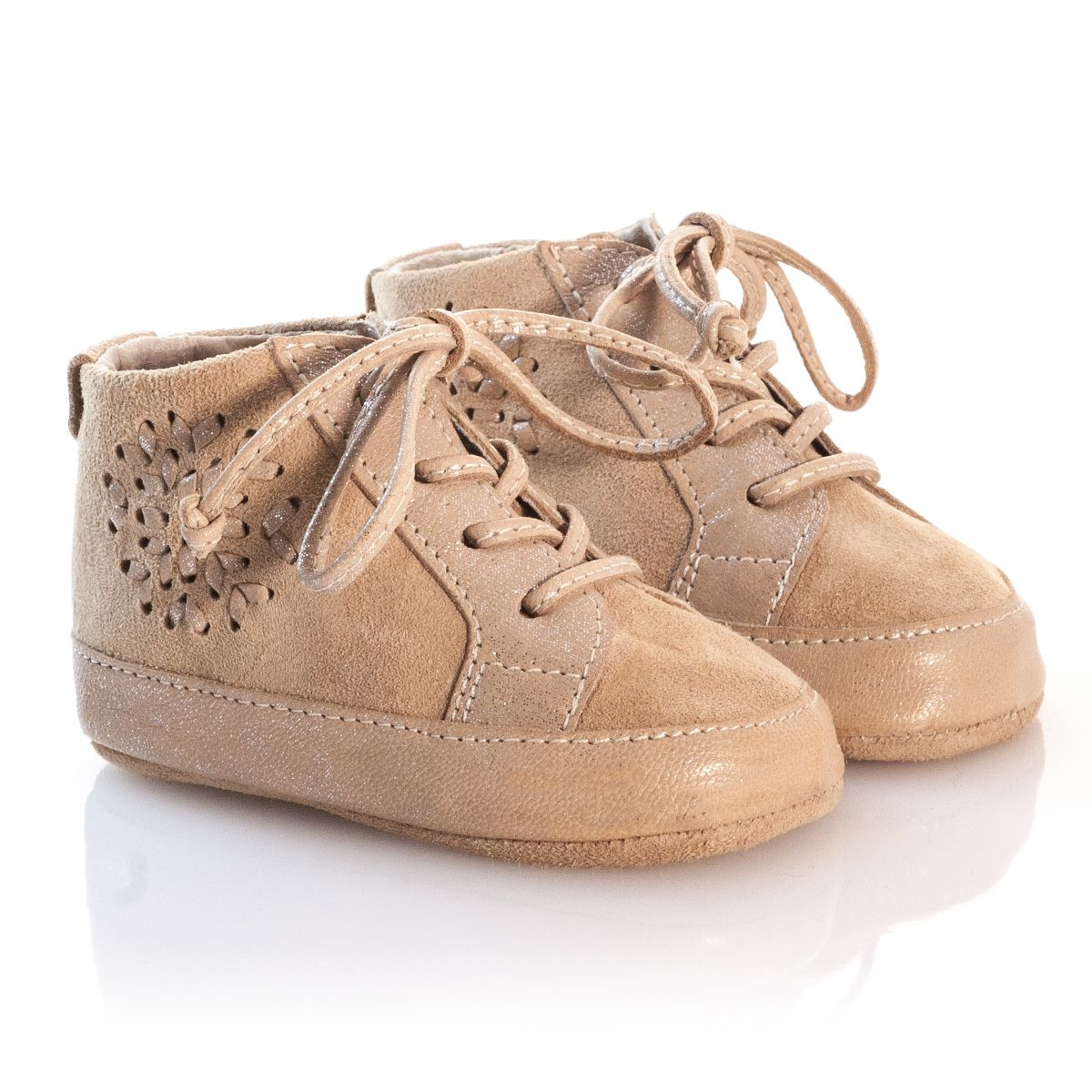 VIBYS Soft soled handmade baby sneakers from beige leather