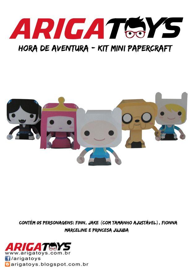 Kit Mini- Papercraft Hora de Aventura. Vem com 5 personagens desmontados (5 folhas). Fácil de montar!! Valor do kit: 6,00  www.facebook.com/arigatoys