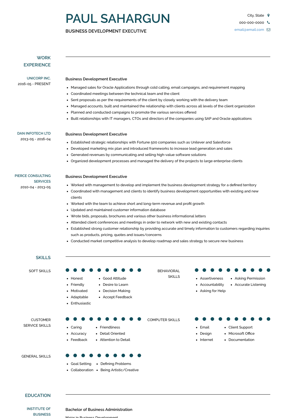 Business Development Resume Samples & Templates VisualCV