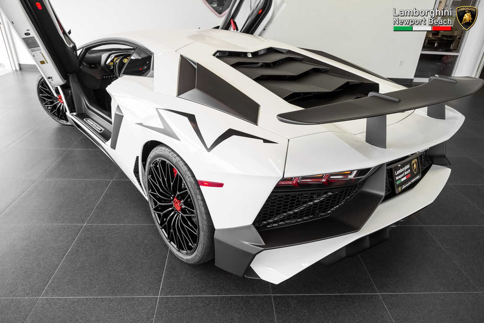 Bianco Isis Lamborghini Aventador LP750 4 SV Rear Three Quarters