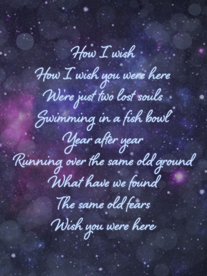 Wish You Were Here Quotes Unique Pink Floyd Wish You Were Here Every Time I Listen To This.i