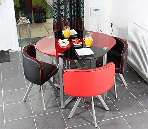 Charles jacobs dining table with four chairs set in black red charles jacobs space saver dining table with four chair set round tempered glass top new 2017 cushioned contemporary design for extra comfort workwithnaturefo