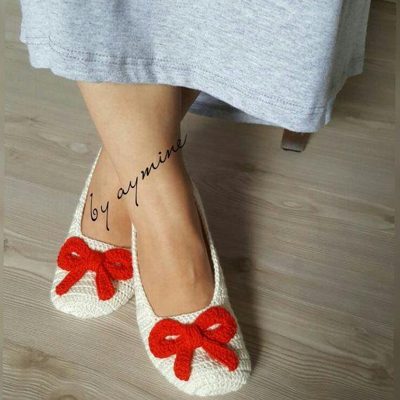 Crochet Women Slippers ,Bow Slippers ,Crochet Home Shoes ,Women ...