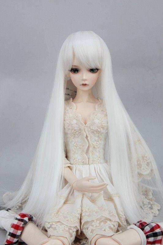 "New 1//4 Girl BJD SD Doll Wig Dollfie 7/"" DZ DOD LUTS Bjd Doll Wig  Long Grey Wig"