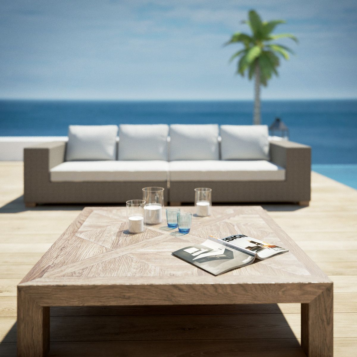 poolside garden furniture 3d model 3d model