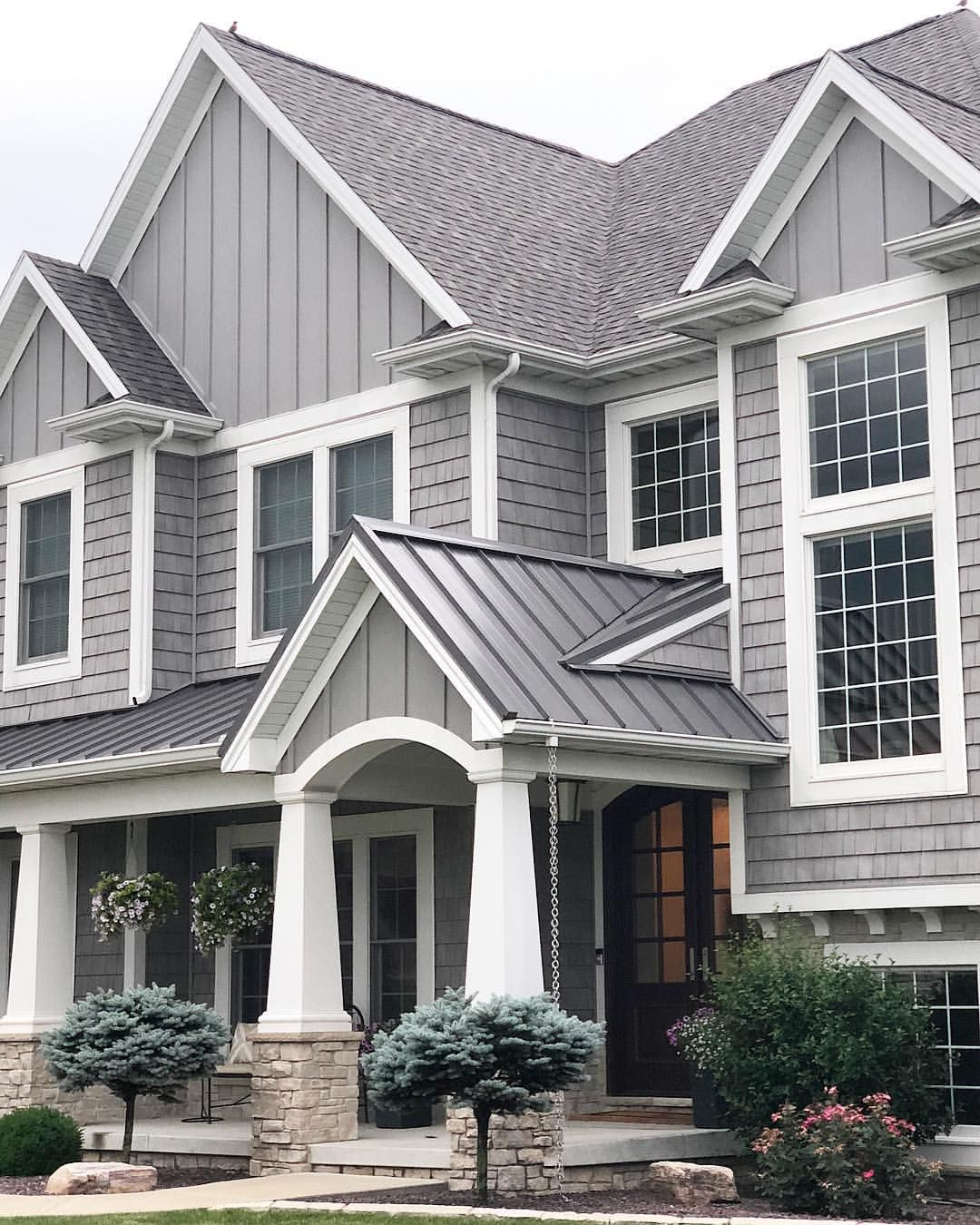 Grey Shake Shingle Craftsman Two Story Four Bedroom Home Grey Home Exterior With Whit Gray House Exterior House Paint Exterior Exterior Paint Colors For House
