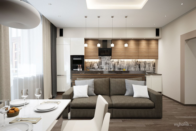 Кухня-гостиная в двухкомнатной квартире в Баварии ...