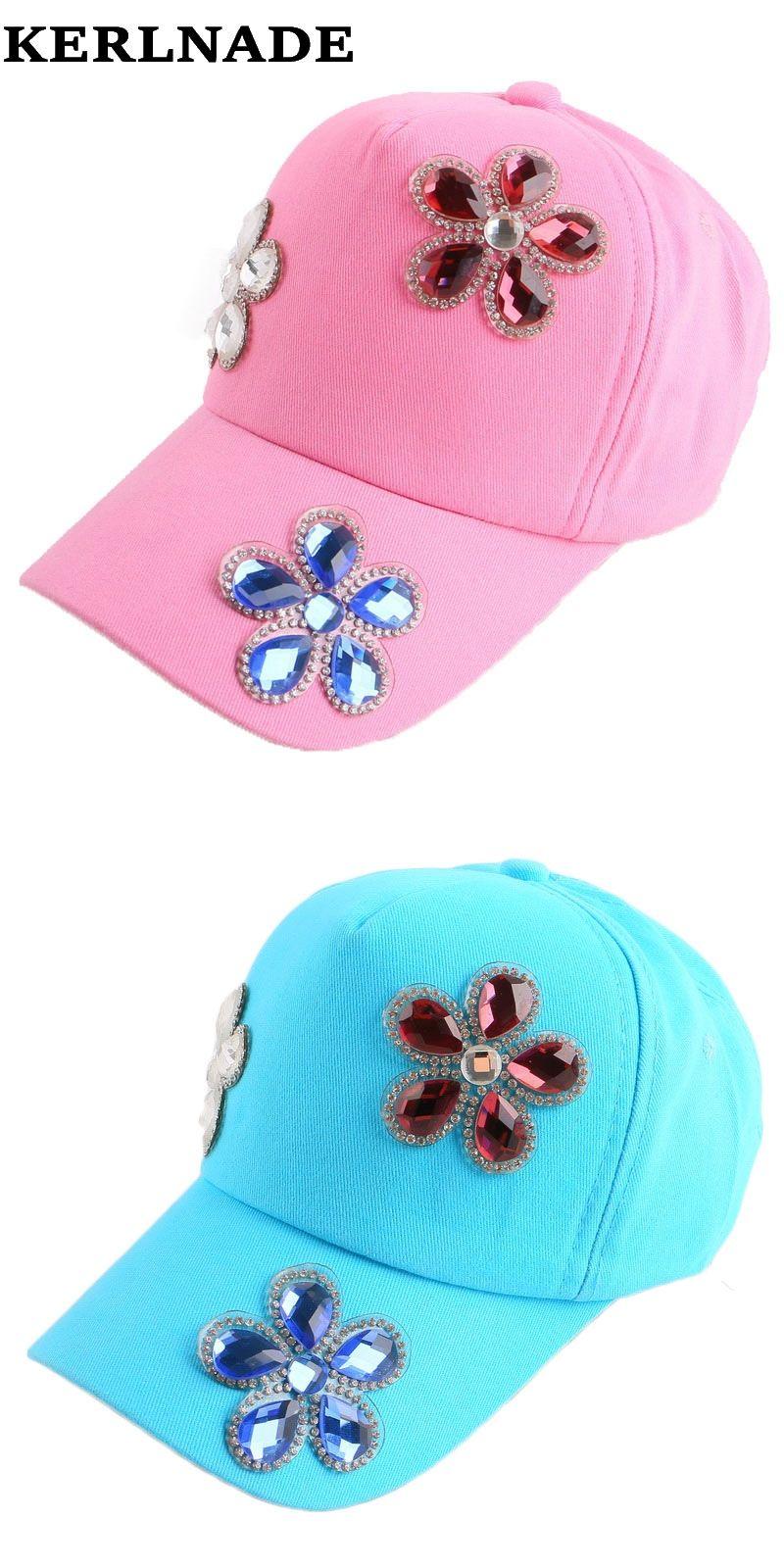 free shipping new popular women girl pretty dimond rhinestone floral flower  denim jeans brand baseball cap cd781149e93f