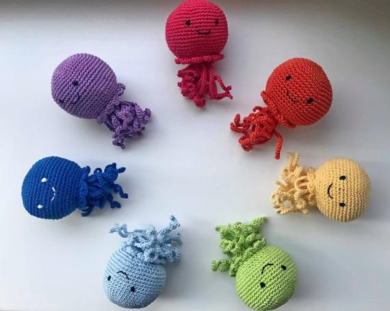 Set of octopuses rainbow octopuses crochet octopuses baby crochet toy colored octopuses octopuses decor octopi baby shower gift #crochetoctopus