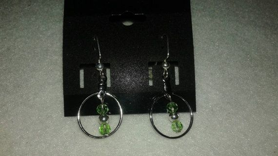 Check out this item in my Etsy shop https://www.etsy.com/listing/234299236/green-dangles-green-earrings-green-hoops