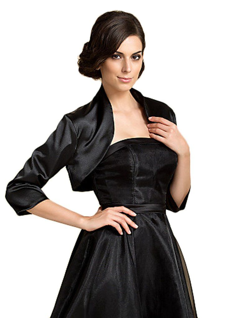 Anne's Accessory Women 3/4 Sleeve Satin Wedding Evening Jackets Bolero A18 4