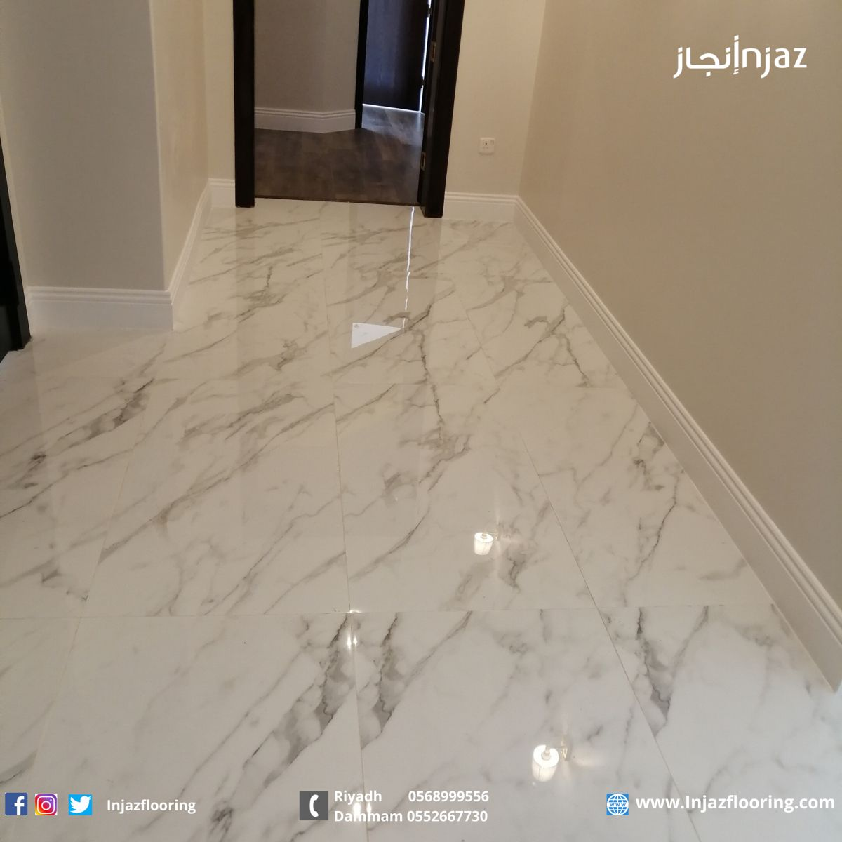 من أعمالنا تركيب نعلات فايبر Flooring Tile Floor Skirting