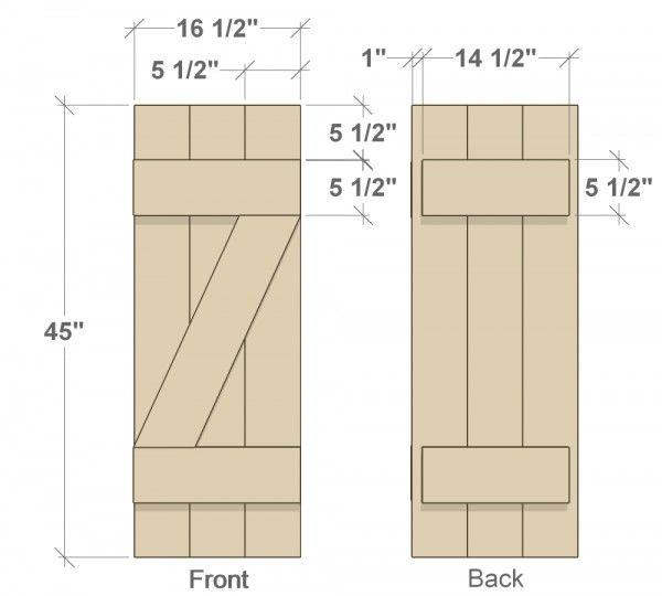 Diy shutters front and back dimensions diy ideas pinterest persiennes volets et volet bois for Dimension volet bois standard