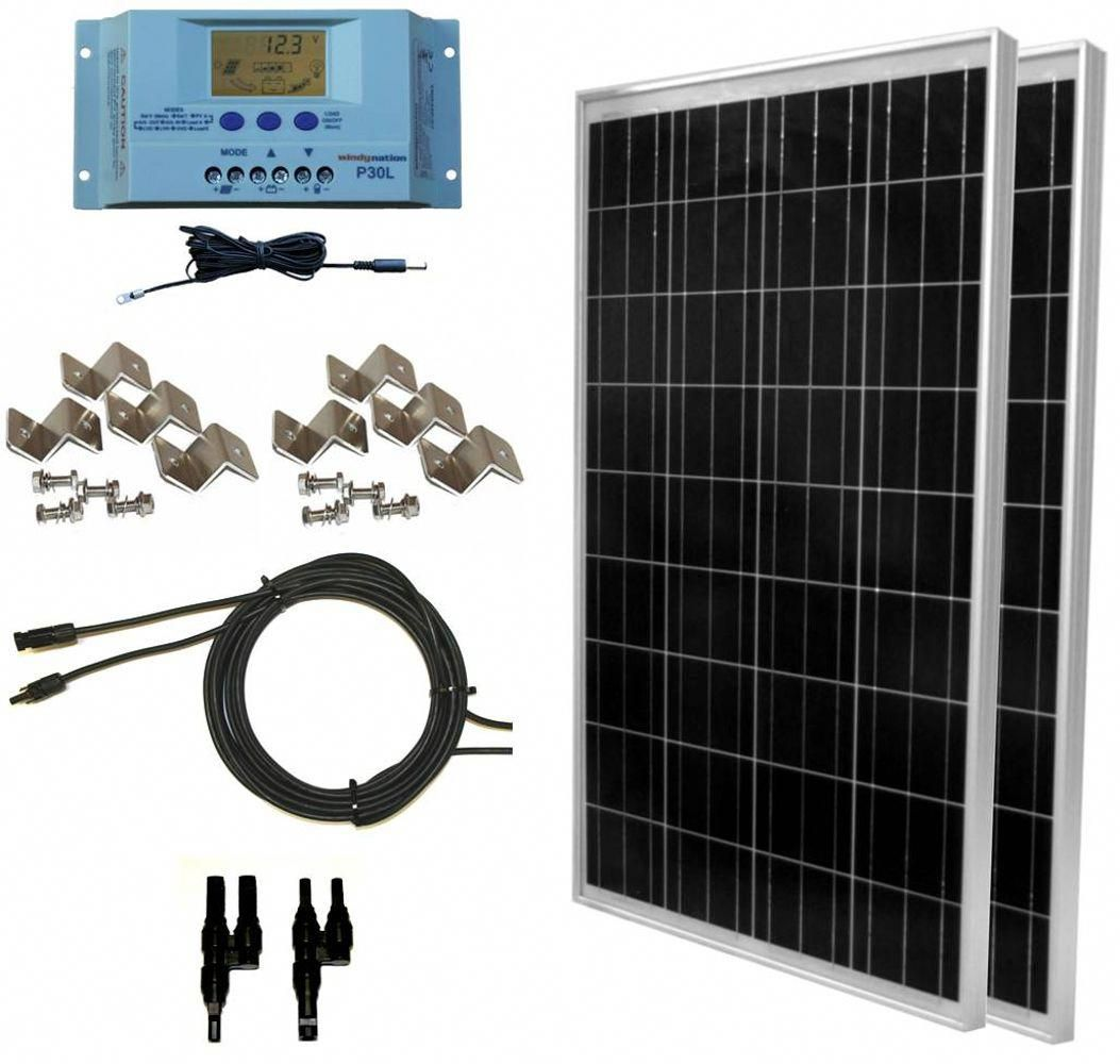 Free 2 Day Shipping Buy Windynation 200 Watt Off Grid Solar Panek Kit With P30l At Walmart Com Solarpanels Sol In 2020 Solar Panel Kits Solar Kit Solar Energy Panels