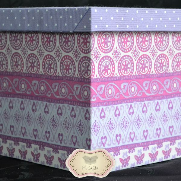 Caja de fibrof cil simil madera decorada forrada en - Papel empapelar paredes ...