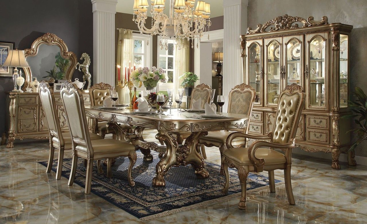 Chateau De Chambord Gold Patina 7pcs Dining Table Set Formal Dining Room Sets Gold Dining Room Dining Room Furniture Sets