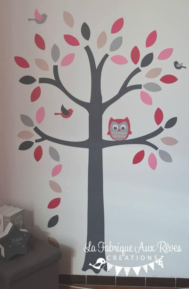Stickers arbre gris rose poudr rose fuchsia fraise for Decoration chambre hibou