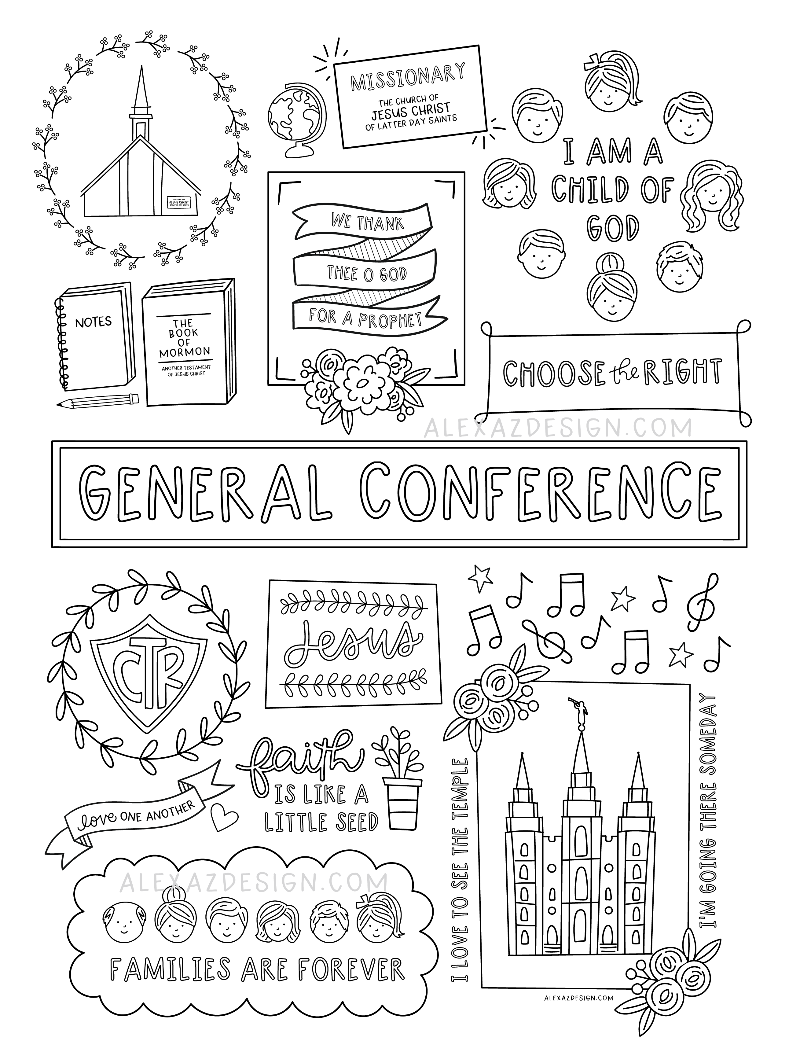 General Conference Coloring Page Printables Lds General Conference Activities Lds Conference Activities Lds General Conference Packets
