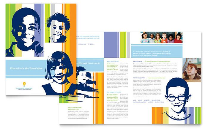 Learning Center And Elementary School Brochure Template Design By