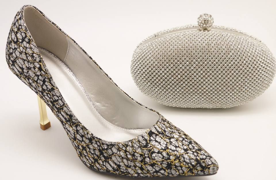 Silver Glitter Pump Heel & Matching Clutch Bag Set